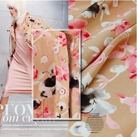 Pure Mulberry Silk Crepe De Chine Fabric 100 Silk Fabric Floral Print Pink For Dress Skirt