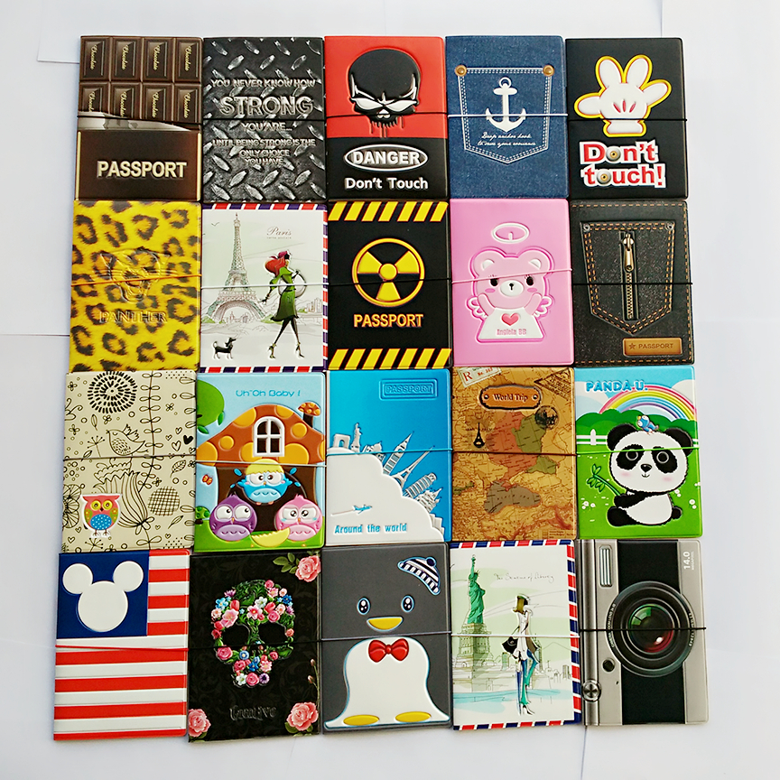 Hot-selling PU&PVC passport Cover , business Card -ID Holders for travel , Free shipping with 22 kinds of Pattern for choose