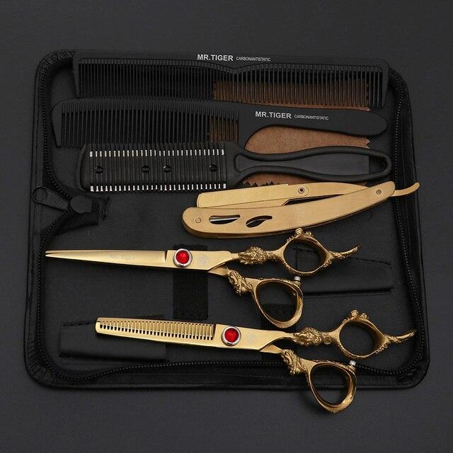 Hoja afilada 6,0 pulgadas tijeras de peluquería profesional tijera 5,5 de corte de pelo tijeras Barber tijeras de corte de navaja de afeitar