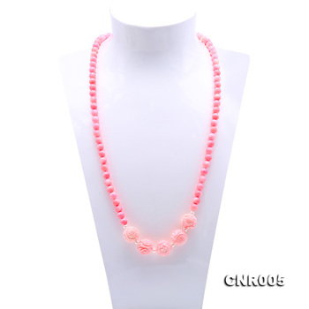 "JYX Beautiful 7.5mm Pink Round Nature Coral Long Necklace Elegant Gemstone Women Mother's Jewelry 38"" Handmade Gift"
