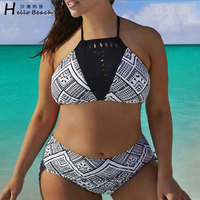 Plus Size Bikini Set High Neck Bikini Women S Swimsuits Large Size Print Swimwear Beach Wear