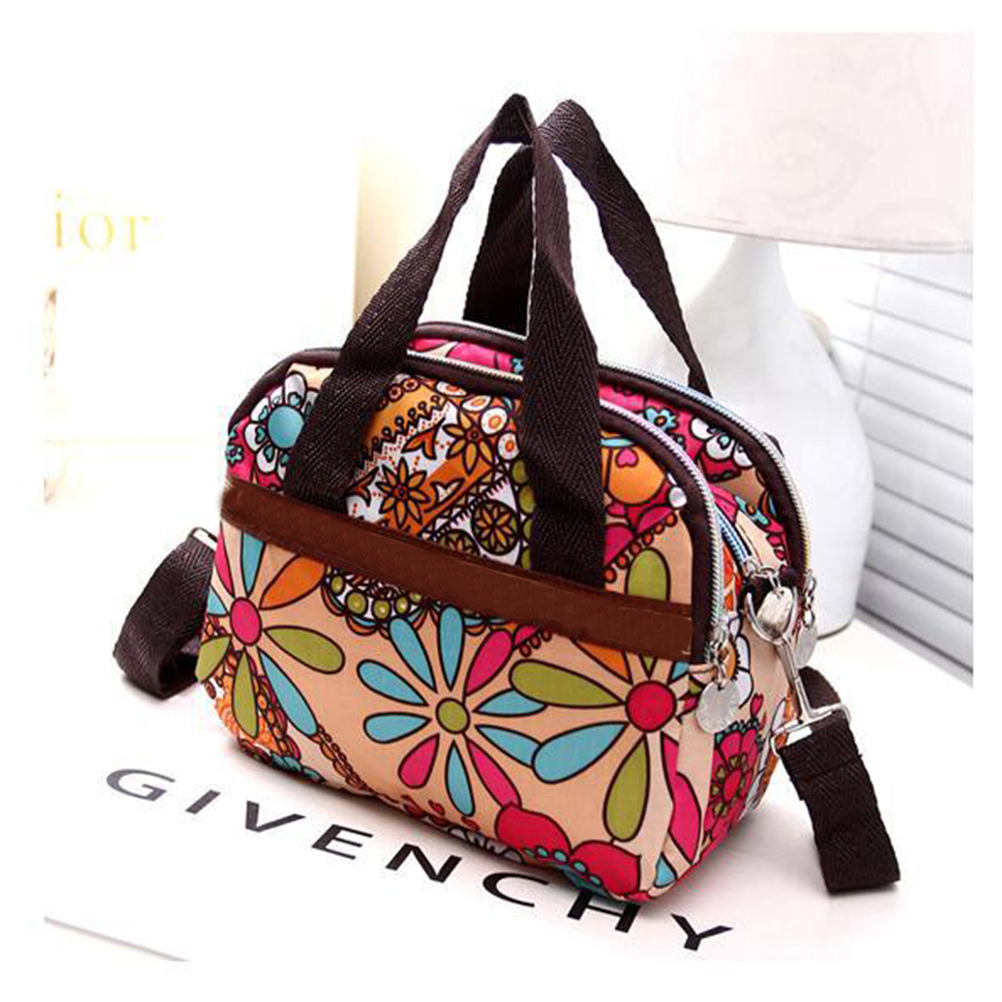 Women;s Handbags Nylon Flower Printed Lady Shoulder Bag Casual Women Messenger Bags Ladies Mummy Bag Large Capacity Hand Bags