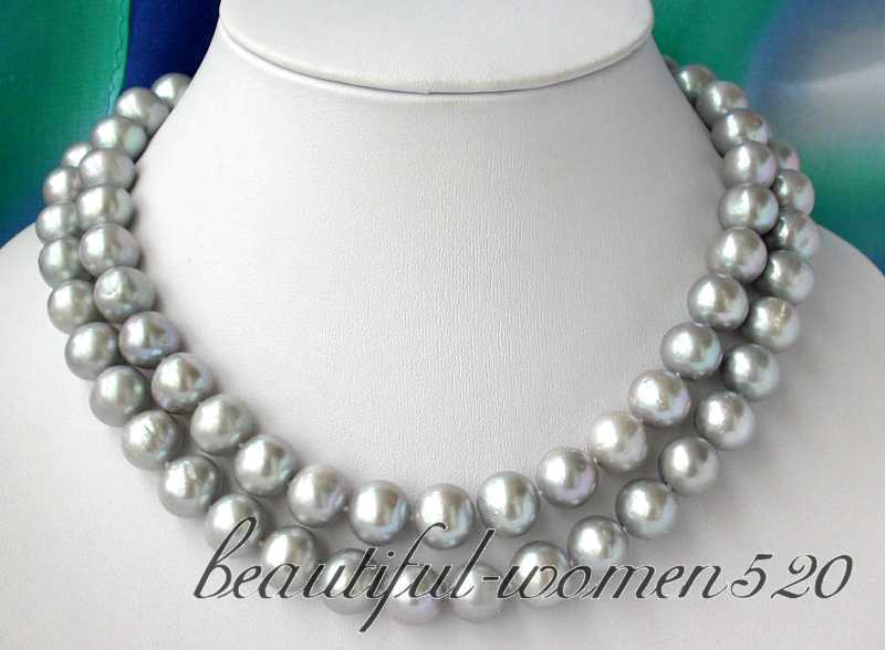 Z2823 34 12mm round gray freshwater pearl necklace Z2823 34 12mm round gray freshwater pearl necklace