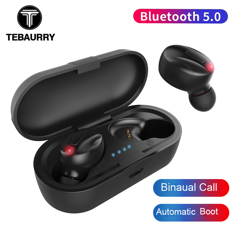 TEBAURRY <font><b>Tws</b></font> Bluetooth Earphone 5.0 Ture Wireless Earbuds 5D Stereo Bass wireless Headphones with with dual microphone for phone image