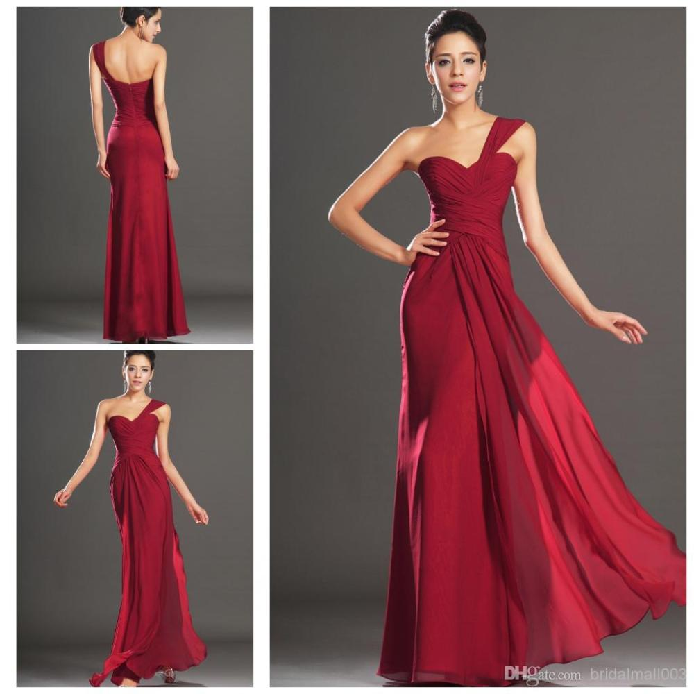 Dress simple picture more detailed picture about 2014 a line one 2014 a line one shoulder bridesmaid dress with pleates backless dark red chiffon long bridesmaid ombrellifo Gallery