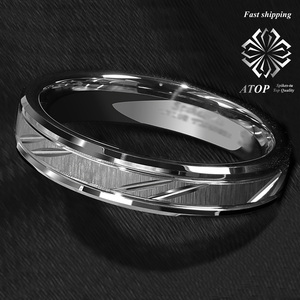 Image 5 - 6mm Tungsten Carbide Ring Silver leaf New Brushed Style Bridal ATOP Jewelry