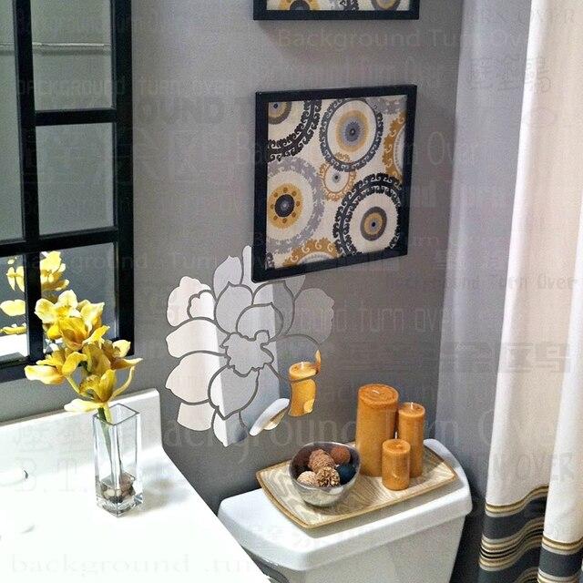 Kreatif Elegan Peony Acrylic Cermin Hiasan Dinding Stiker Bunga Untuk Anak Perempuan R Tidur Dekorasi