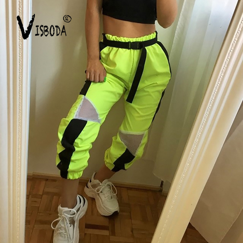 Women Loose Baggy Trousers Fashion 2019 Ladies Neon Green Joggers Mesh Patchwork Sweatpants Pants Hiphop Dance Pants Plus Size