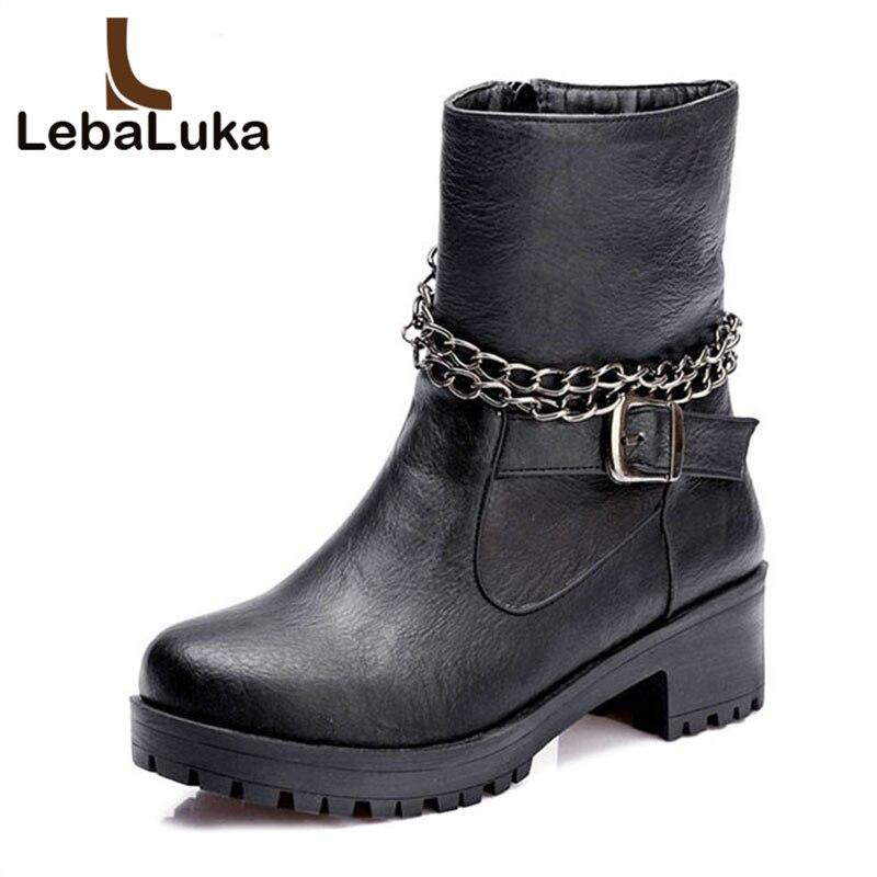 LebaLuka High Heels PU Leather Boots Women's Shoes Woman