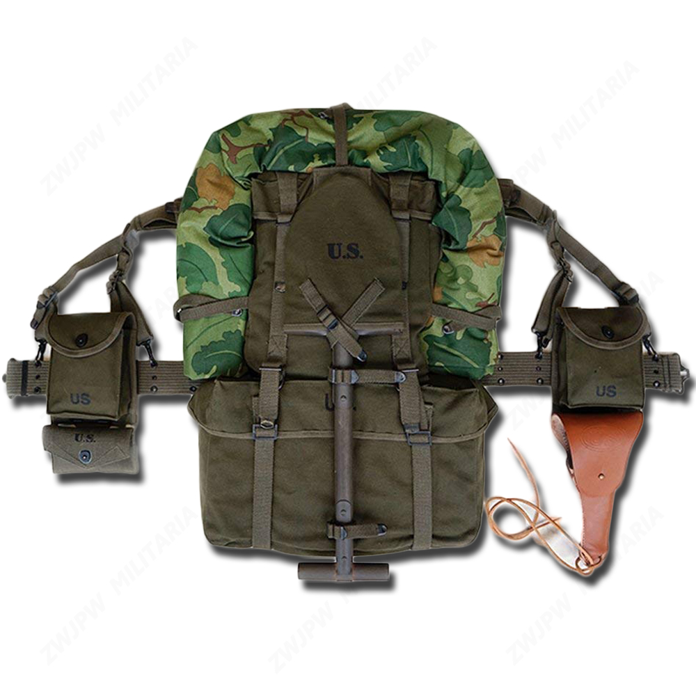 WW2 KOREAN M1945 EQUIPMENT COMBINATION M1911 M1  POUCH WITH BELT COMBINATION WITH CAMOUFLAGE TENT AND SPADE