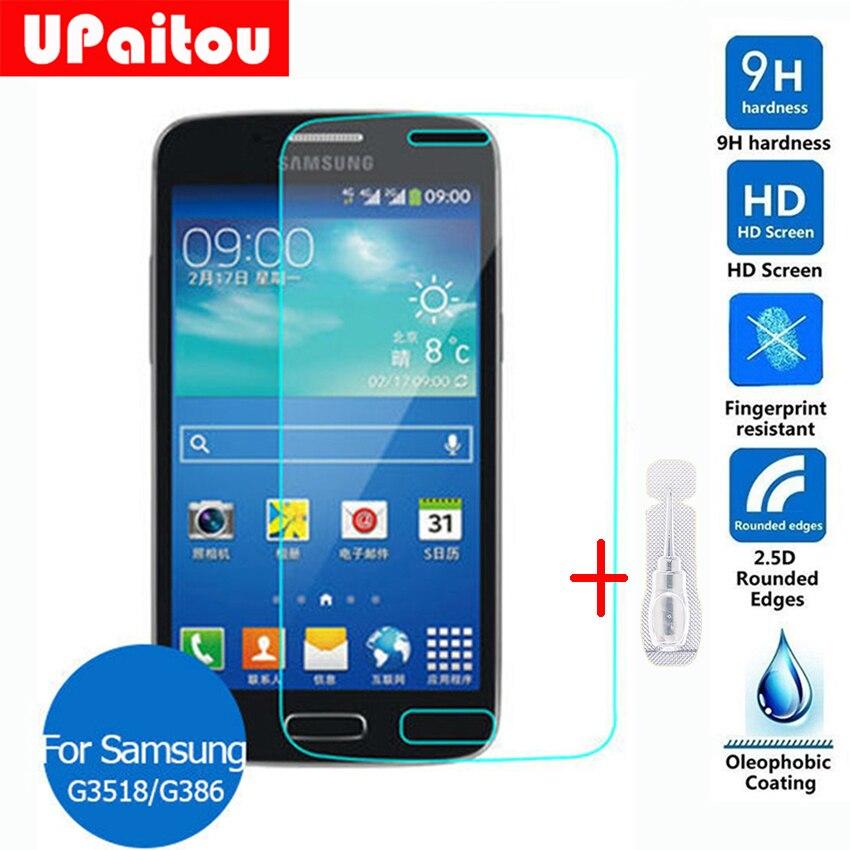 Upaitou для Samsung Galaxy Core Экран протектор Закаленное Стекло 0.26 мм 2.5D 9 H защитный Плёнки на g386f g386 Avant g386t 4 г LTE