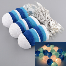 Aladin Romantic 3M 20 Blue Creative Handmade Cotton BALL String Light For Xmas Feast Banquet Decoration(China)