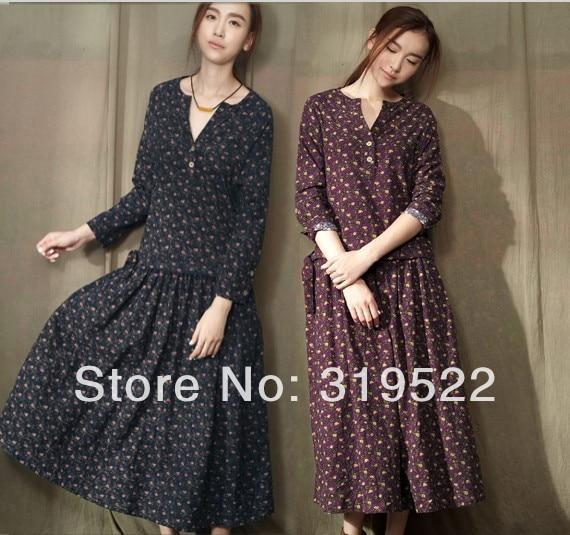 S M L XL mori vintage flowers print floral long sleeve tea length long dress