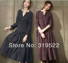 S M L XL mori vintage flowers print floral long sleeve tea-length long dress