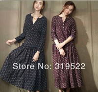 S M L XL Mori Vintage Flowers Print Floral Long Sleeve Tea Length Long Dress
