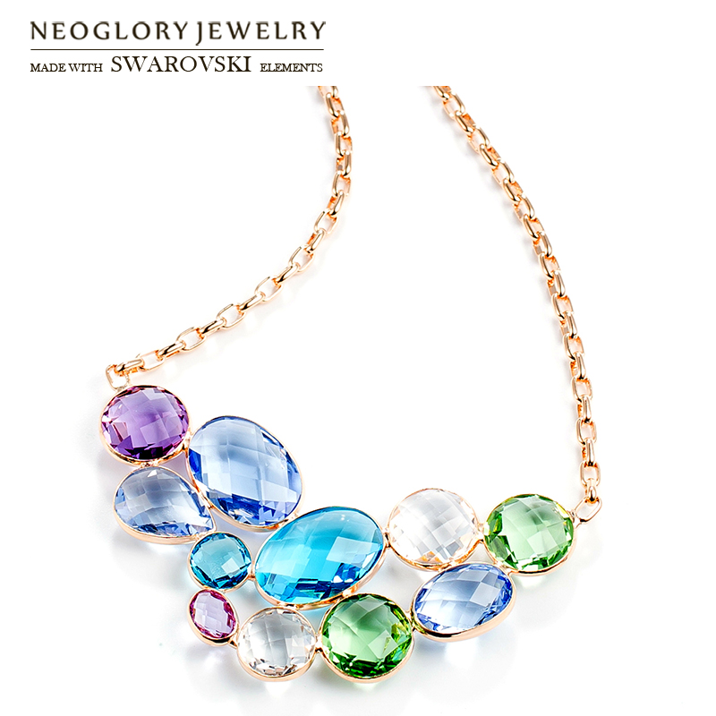 Neoglory Austria Crystal Long Pendant Charm Necklace Colorful Geometric Design Champagne Gold Color For Women Brand Gift цена 2017