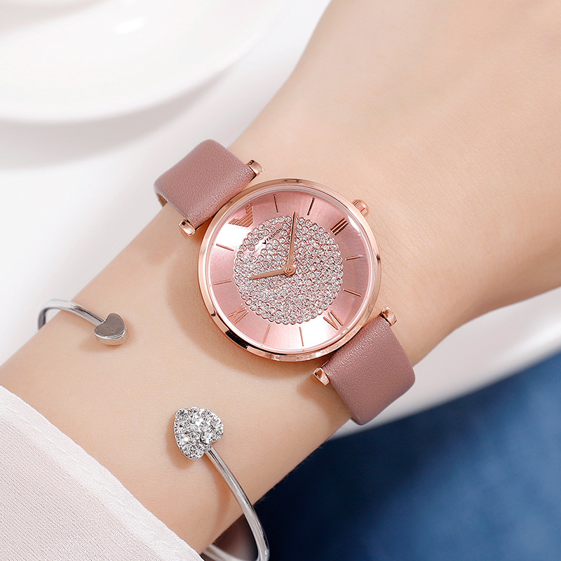 Ladies Casual Watch 2019 Women Pink Leather Strap Quartz Wristwatches Luxury Brand Women's Crystal Fashion Bracelet Clock Gift