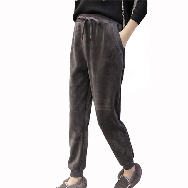 ff14552ddb2d 2017 New Women Casual Velvet Harem Jumper Pant Loose Trousers Ladies Winter  Spring Warm Velour Jogger