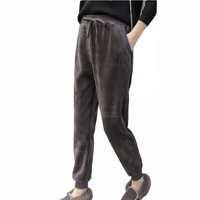 2017 Nova Mulheres Casual Jumper de Veludo Harem Pant Calças Soltas Senhoras Inverno Primavera Veludo Quente Calças Basculador Plus Size S-2XL