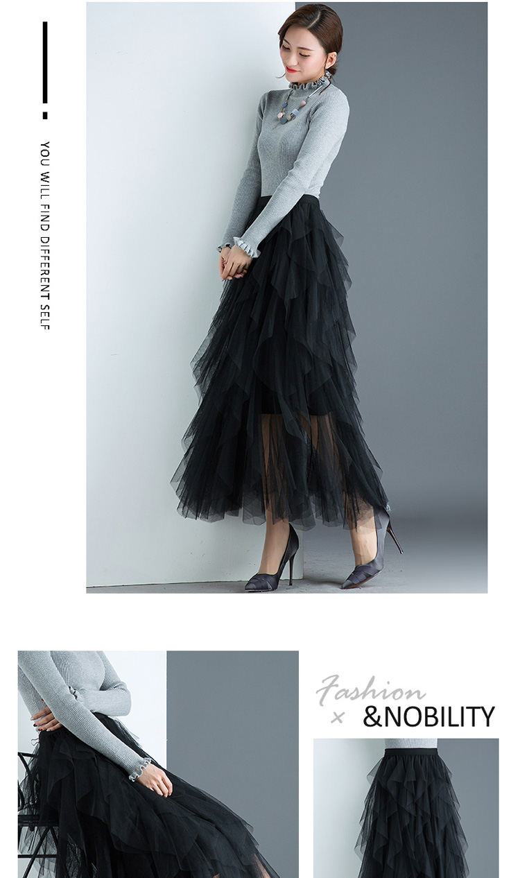 Women irregular Tulle Skirts Fashion Elastic High Waist Mesh Tutu Skirt Pleated Long Skirts Midi Skirt Saias Faldas Jupe Femmle 40