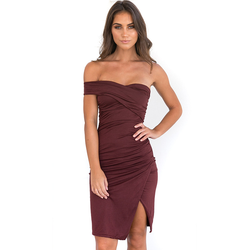 New Women Sexy Dress Elegent Strapless Folder One Shoulder