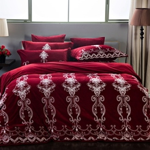Wine Red Purple Blue Luxury European Embroidery Winter Thick Velvet Flannel Bedding Set  Duvet Cover Bed Linen/sheet Pillowcases