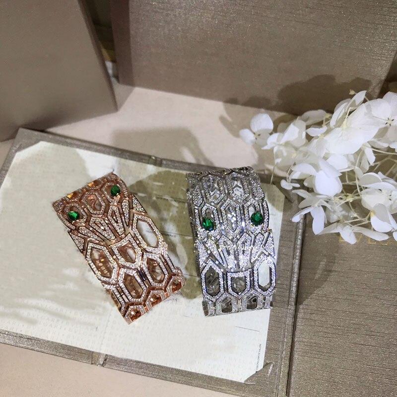 Bracelet manchette argent 925 pour femmes bijoux de luxe larges bracelets en cristal accessoires féminins cadeaux Pulseira