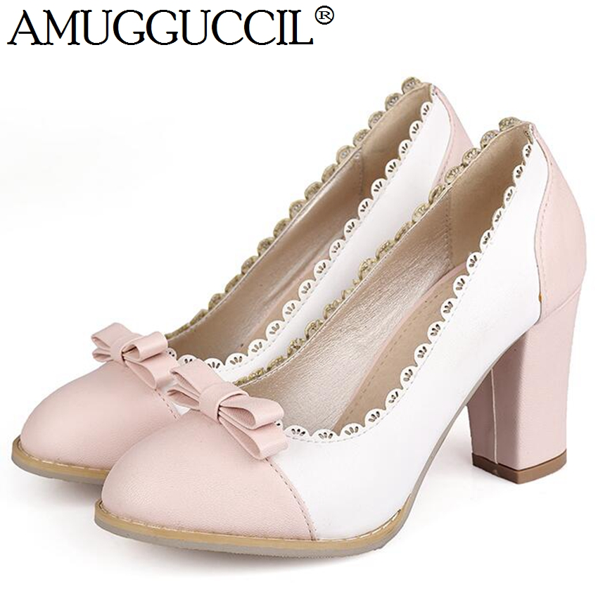 2017 New Arrival Plus Big Size 31 43 Pink Green Black Fashion Sweet High Heel Spring