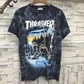 2017 Arrival Thrasher T-Shirts Men 100%Cotton Wolf Print Trasher T Shirt Men Kanye Yeezy Pablo Women High Quality Tshirt Men Tee