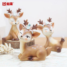 Sika deer small decoration home American creative cartoon animal office birthday gift