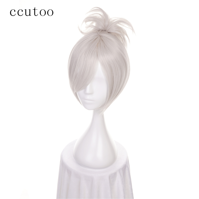 Ccutoo 12 Lol Riven Silver White Short Synthetic Wig Cosplay Costume Wig With Chip Ponytail Heat Resistance Fiber Synthetic None-lacewigs