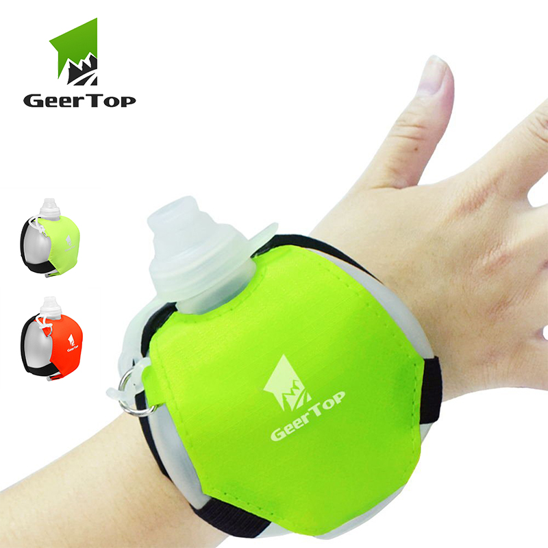 GeerTop Sports Water Bottle Portable Wrist Camping Water Bottle Hiking Drink Bag Outdoor Survival Equipment Hydration Pack Molle