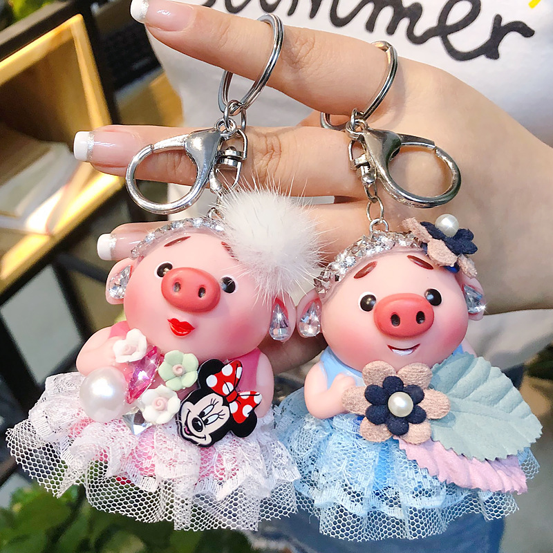 Cute Anime Pigs Skirt Girl Keychain Cartoon Crystal Rhinestone Pom Pom Key Chain for Car Key Ring Women Key Holder Bag Pendant keychain holder key ring with vine bottle pendant 3pcs