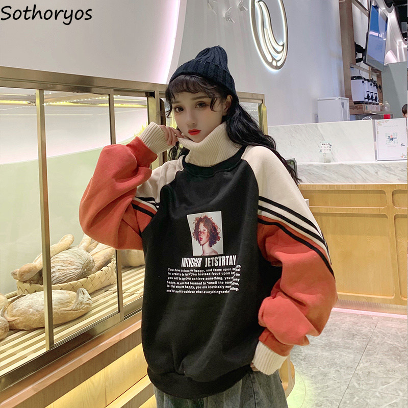 Hoodies Women Turtleneck Thicker Plus Velvet Warm Harajuku Printed Pullovers Womens Oversize Patchwork Leisure Chic Sweatshirts