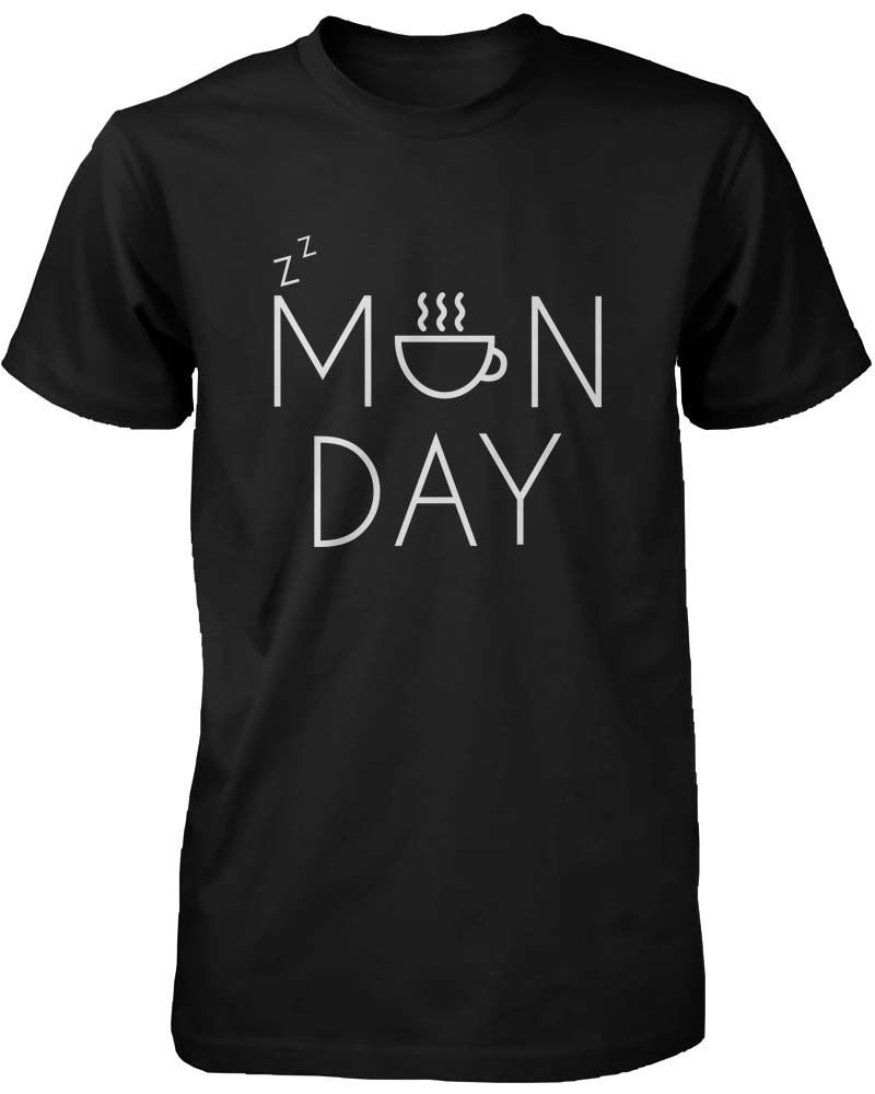 Women's Funny Graphic Tee - Monday Black Cotton T-Shirt with Coffee Mug Design Short Sleeve Round Collar Cotton T Shirts