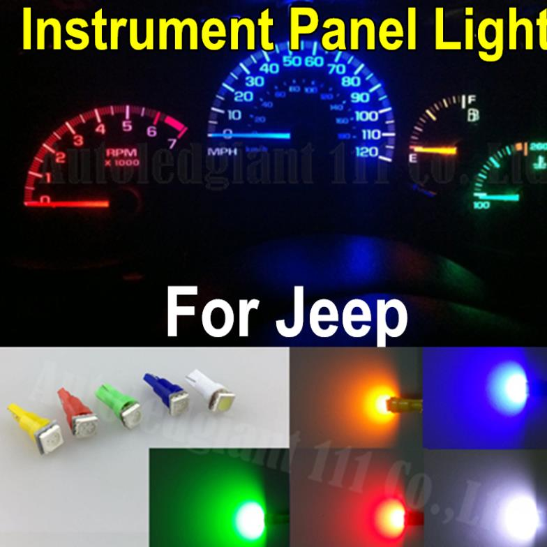 25pcs Led T5 Smd 73 74 286 Wedge Red Blue Green Yellow White Car 12v Gauge Dashboard Instrument Panel Light Bulb For Jeep