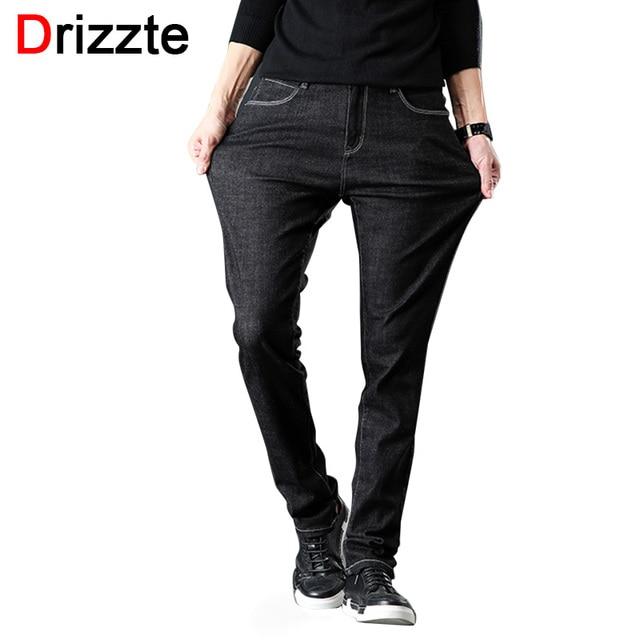 Drizze Winter Men Jeans Denim Mens Stretch Flockin Jeans Slim Fit Plus Size to 40 42 44 46 Big Men Embroidered Jeans Pants