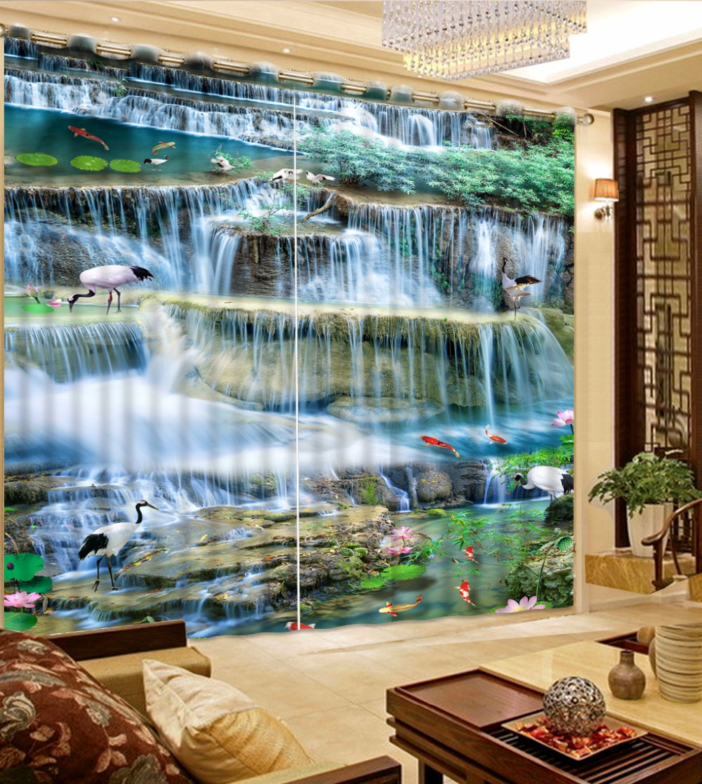 custom 3d curtains for living room Crane waterfall water 3d stereoscopic curtains modern luxury curtainscustom 3d curtains for living room Crane waterfall water 3d stereoscopic curtains modern luxury curtains