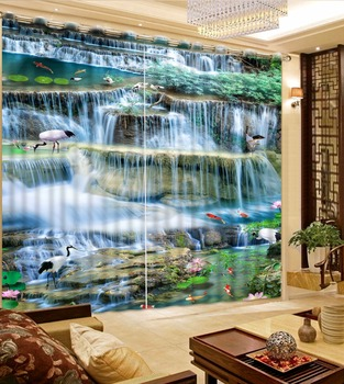 custom 3d curtains for living room Crane waterfall water 3d stereoscopic curtains modern luxury curtains