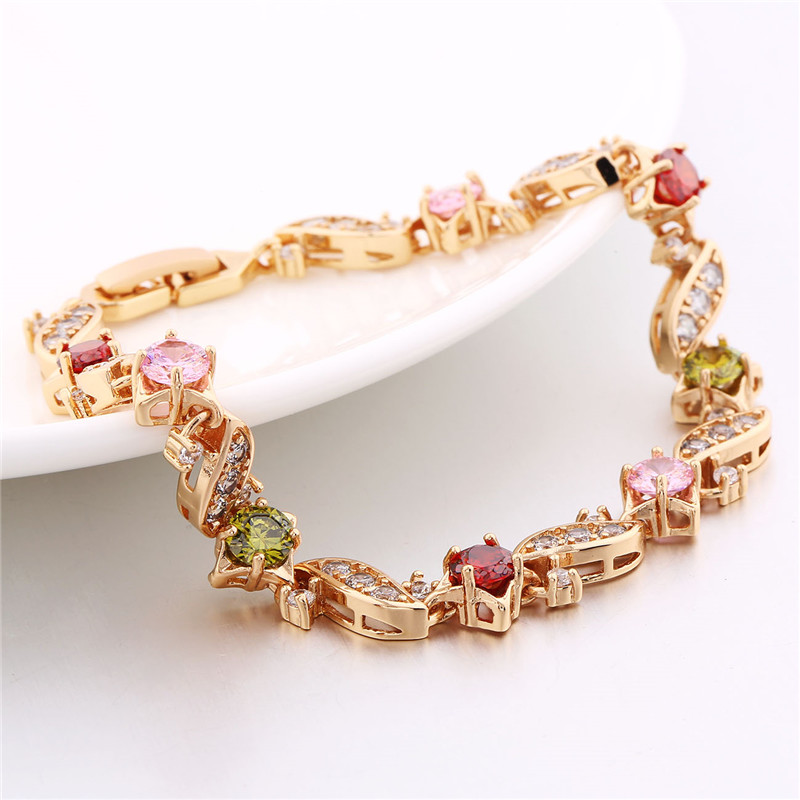 BUDONG 18cm Fashion Hand Bracelets for Women Silver/Gold Color Bracelet Pink Crystal Cublic Zirconia Jewelry Bangles XUL104 11