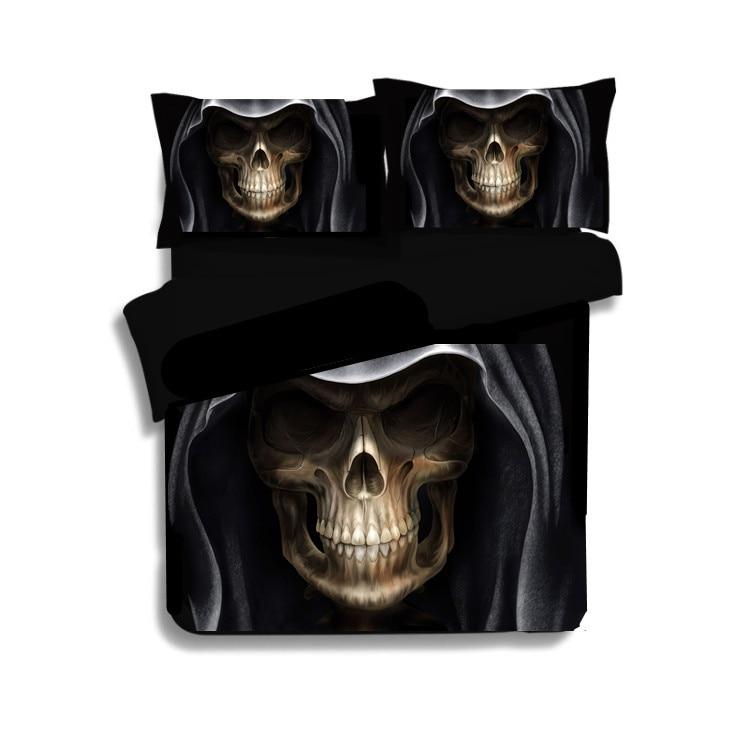 3D Crâne Linge de Lit Enfants Double Ensemble de Literie de Couette Noir couverture Lits Roi, Reine, Taille Mal Style Suger Crâne Literie vêtements