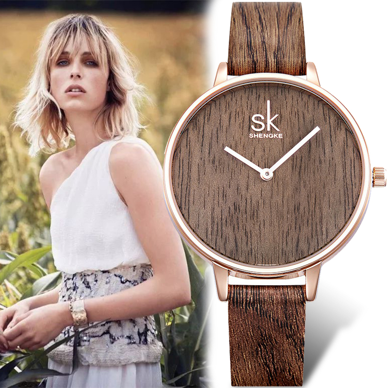 Shengke SK new quartz watch womem Wood Face Design ladies dress Leather strap casual wat ...