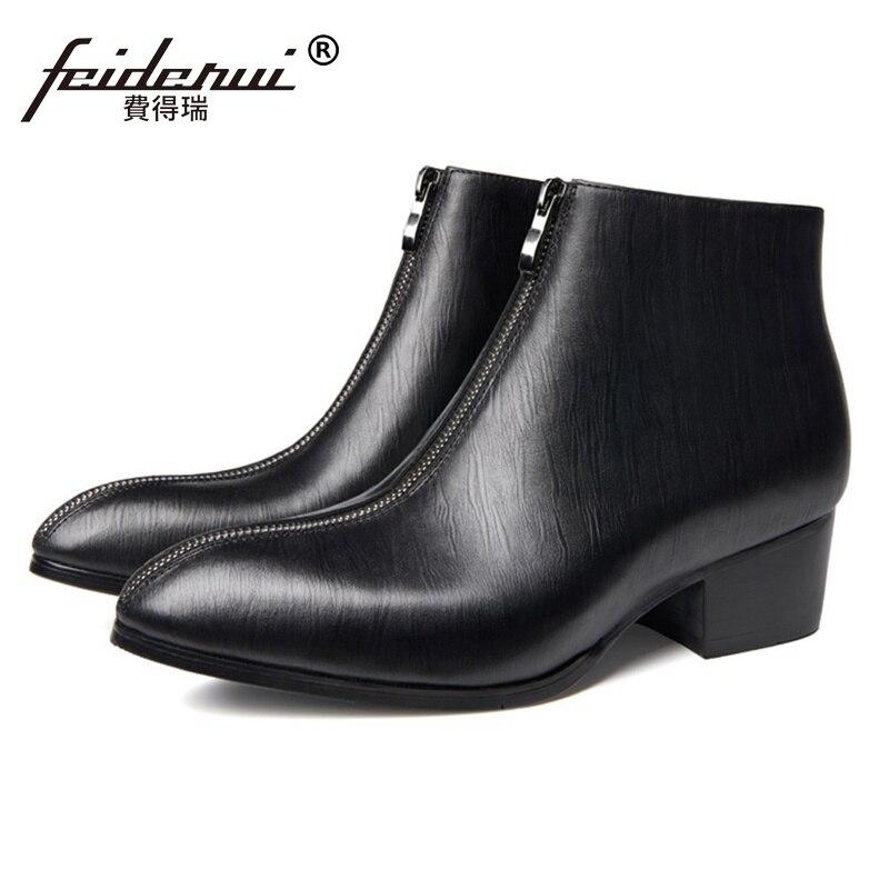 382c0653bd801 Haute Arrivée En Cuir Ss254 Noir top Hommes Cowboy De Chaussures Pointu  Talons Cheville Homme D équitation ...