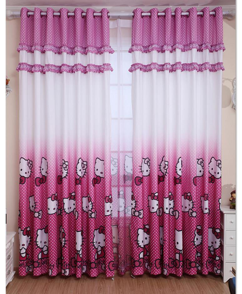Real Blackout Curtains Home Decoration Curtain Hello Kitty Children S Bedroom Blind Child For Free Shipping In From Garden On