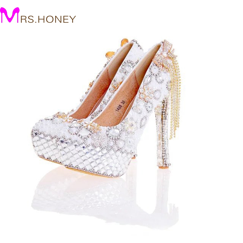 2017 New Arrival Women High Heel Shoes White Pearl and Crystal Wedding Dresss Shoes with Bow Tassel Rhinestone Prom Party Pumps fashin new stunning rhinestone pearl wedding shoes crystal pride pedding high heel pumps dress pearl pregnant pumps shoes