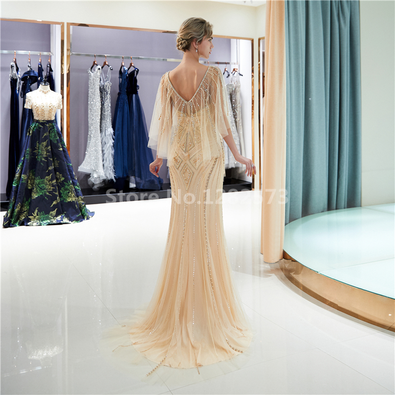 Gorgeous Gold Long Sexy Mermaid Evenig Dress with Cape Elegant Sparkly  Formal Dress Beaded Chic Luxurious Grey Women Party Gown-in Evening Dresses  from ... 163ccf7c9943