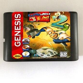 Top quality 16 bit Sega MD game Cartridge for Megadrive Genesis system — Earth Worm Jim 2