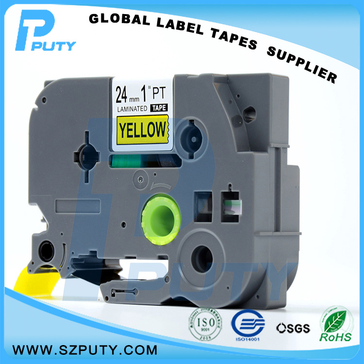 manufacturer direct selling compatible TZe 651 Black on Yellow 24mm labels for Ptouch label printer with