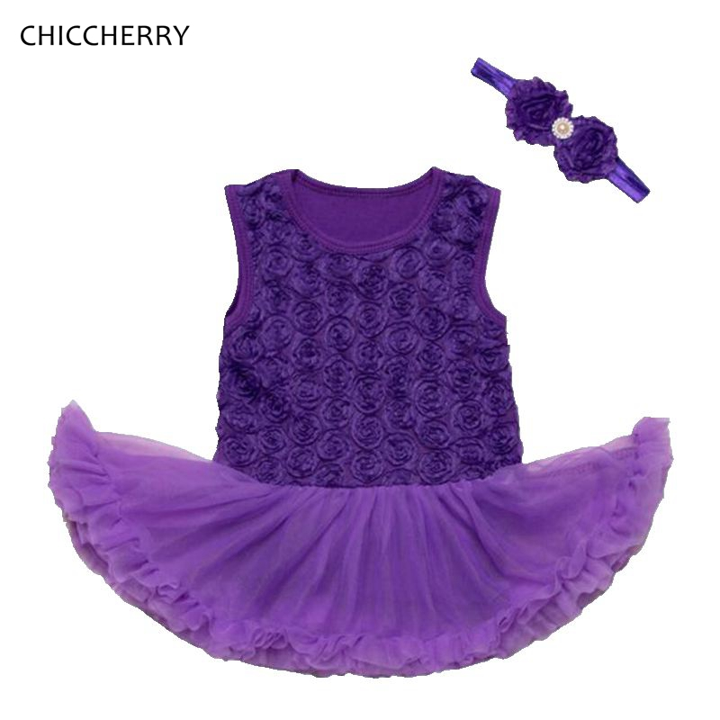 27e8ac8ffef07 Purple   Pink Baby Girl Dress Rose Newborn Tutu Sets Headband Vetement Bebe  Fille Lace Wedding Valentines Romper Infant Clothes-in Clothing Sets from  Mother ...