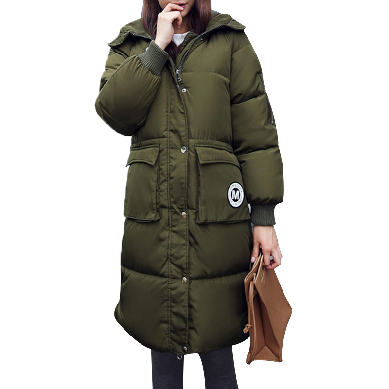 ФОТО 2016 New Winter Women Padded Jacket Female Slim Thick Warm Long Down Cotton Wadded Coat Hoodies Parkas Plus Size Overcoat 1891